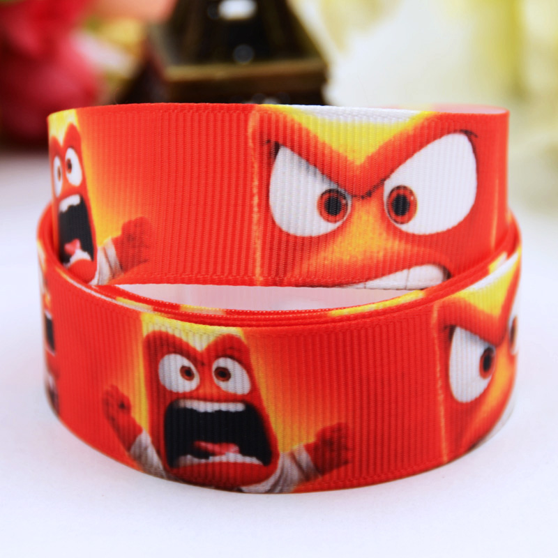 Arts,crafts & Sewing Apparel Sewing & Fabric 7/8 22mm Inside Out Anger Fear Disgust Sadness Joy Cartoon Printed Grosgrain Ribbon Party Decoration Oem 10y X-00450
