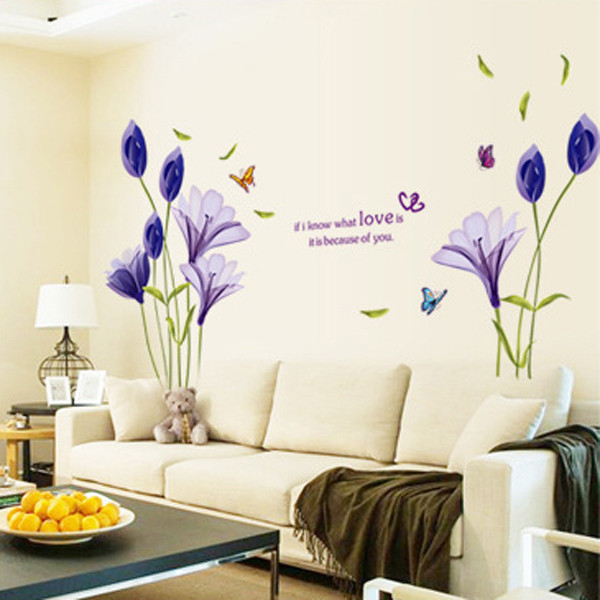 Beautiful-Flowers-Purple-Lilies-Wall-Stickers-Home-Decor-For-Backdrop-Decorative-Wall-Free-Shipping (2)