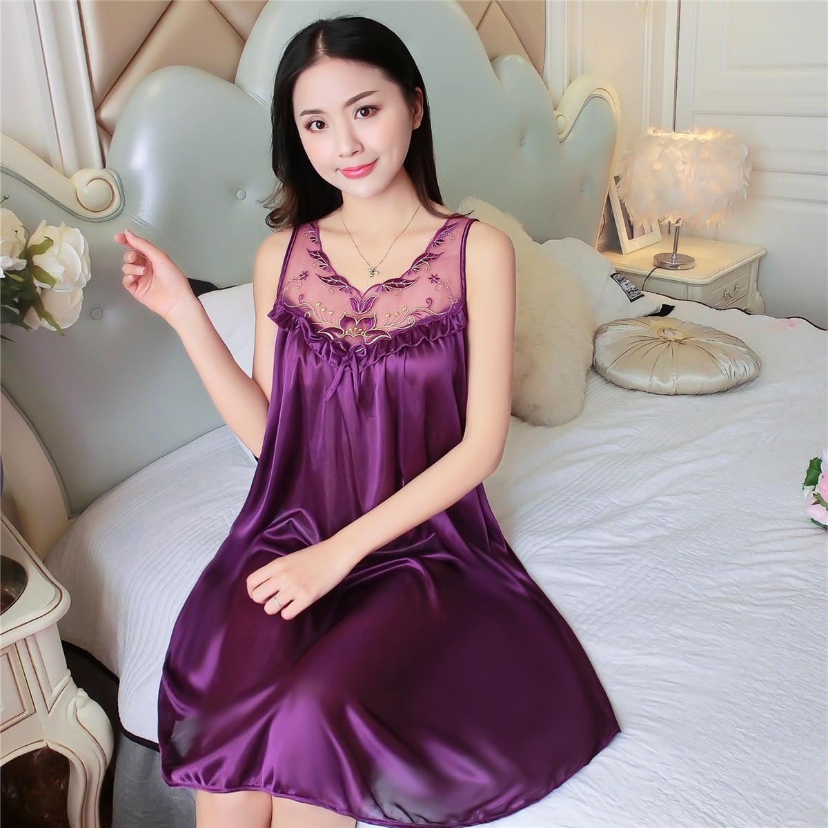 5323238cf6 Women Silk Nightgown 2018 New Sweet Young Sleeveless Fashion Girl Sleepwear  Summer Ladies Sleepshirts 7 colour-in Nightgowns   Sleepshirts from  Underwear ...