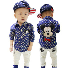 2016 automne nouvelle marque enfants clothing enfants garçons chemises à manches longues avec col de beau dessin animé souris polka dot chemises bebes