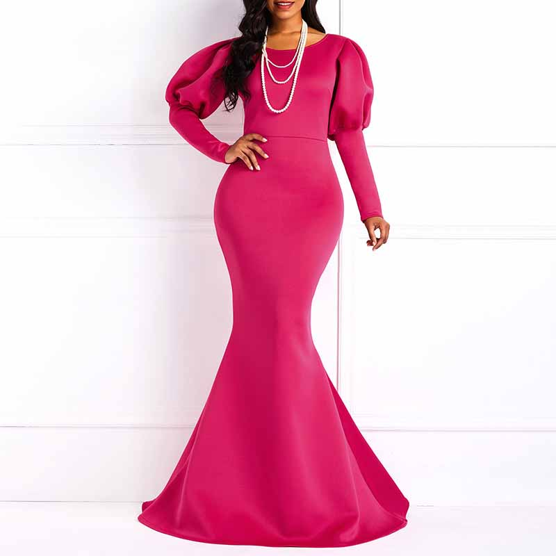 f4466c767fd61 US $28.07 44% OFF|Clocolor Women Maxi Dresses Sexy Blue Party Mermaid  Bodycon Lantern Sleeve Plain Black Female Fashion Elegant Vintage Long  Dress-in ...