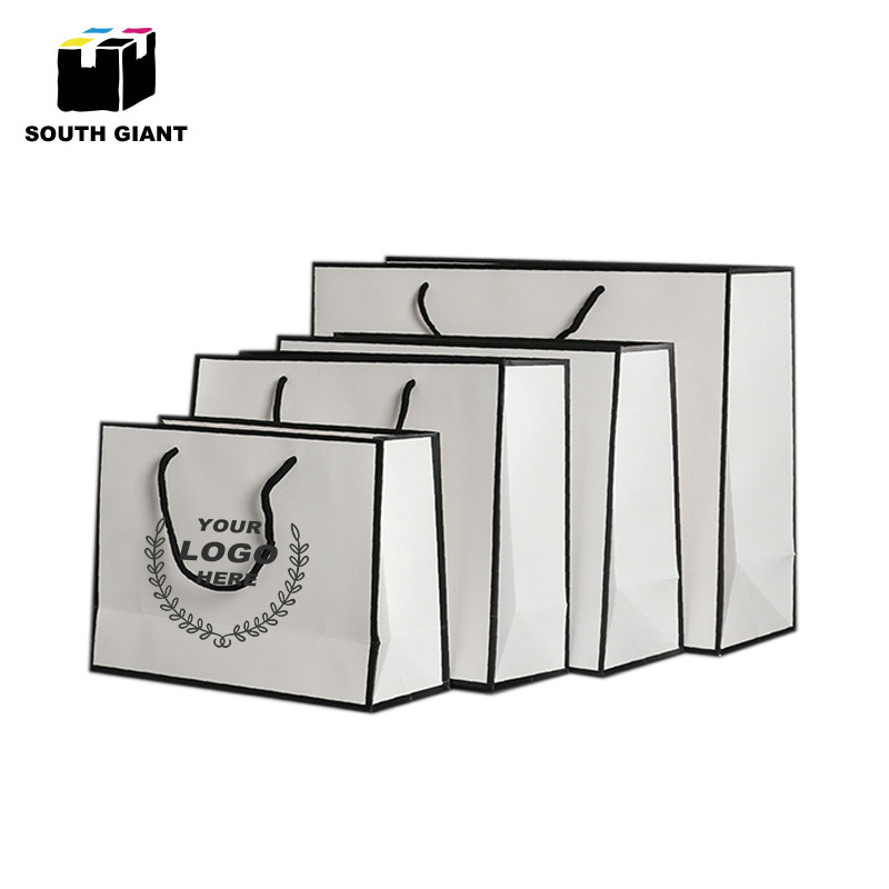 Custom Logo Garment Gift Paper Bags With Handles Small Big Durable Black White Wedding Decoration White Paperboard Bags