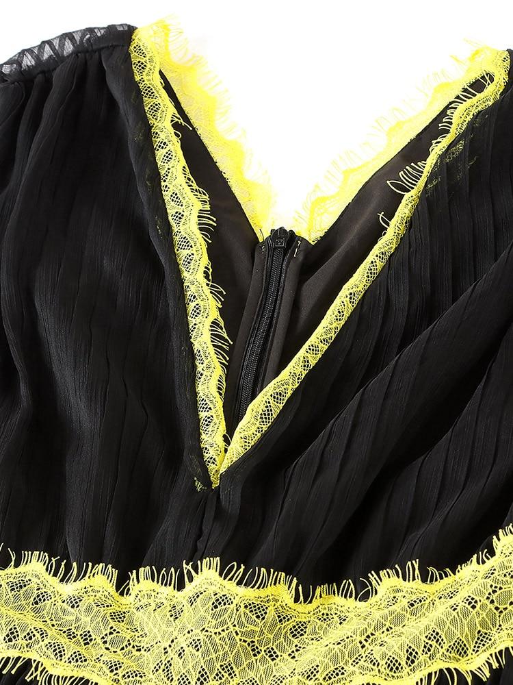 Femmes Sans Manches D'été Maxi Dentelle V Nouveau Piste Multi Robes Profond Nuit Longue Sexy Rouge Robe 2019 Roosarosee Soie Noir col De Partie RUPSO1