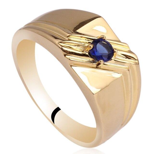 e43c3f14ae06 Color amarillo oro hombres anillo de plata esterlina 925 Plata 4.0mm CZ  joyería tamaño 10 a 13 r511G