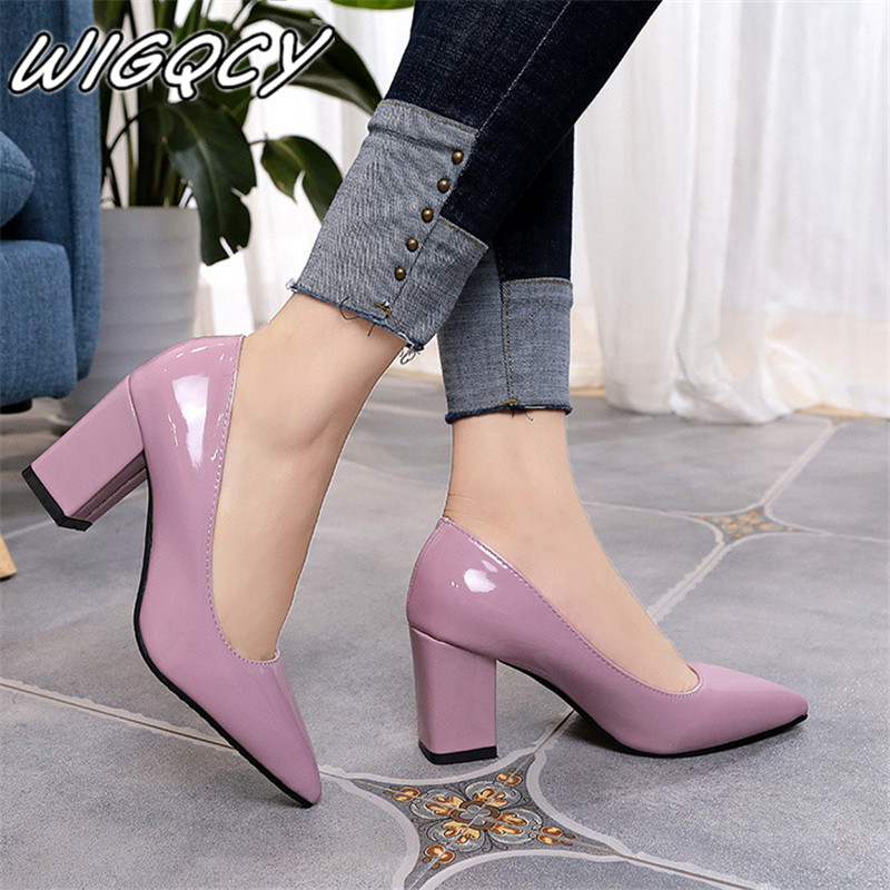 2019 Women's High Heels Sexy Bride Party Mid Heel Pointed Toe Shallow Mouth High Heel Shoes Women Shoes Big Size 35-43(China)