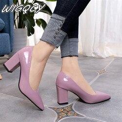 2019 г. Женская обувь на высоком каблуке, пикантная вечерняя Обувь для невесты на среднем каблуке с острым закрытым носком, обувь на высоком ка...