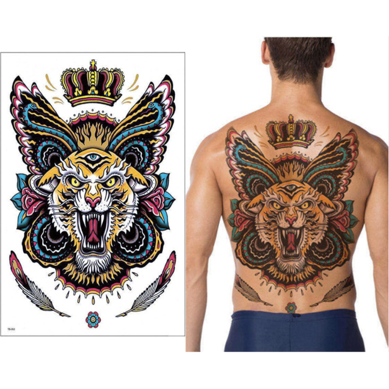 Tiger And Dragon Full Chest Piece: Big Large Full Back Chest Tattoo Sticker King Tiger Dragon