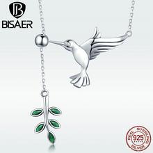 Collier avec pendentif en argent Sterling 925 pour femme, bijoux avec oiseau colibri, feuilles vertes, salutations