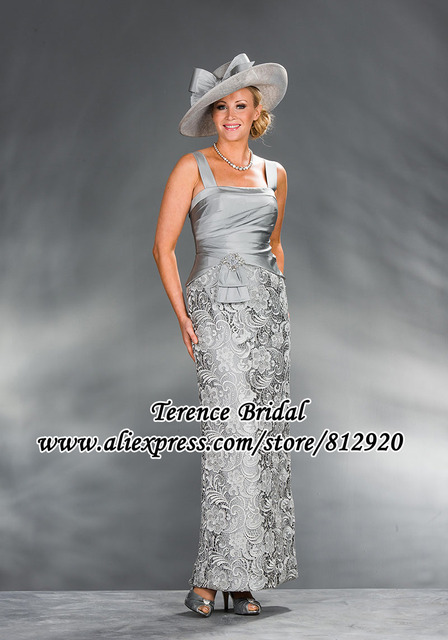 Silver Mother of the Bride Guipure Lace Dressses With Jacket Silver Gray Lace Taffeta 1