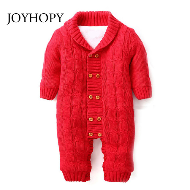 JOYHOPY grueso bebé caliente bebé mamelucos invierno ropa bebé recién  nacido niña suéter hecho punto mono 927f186f6709