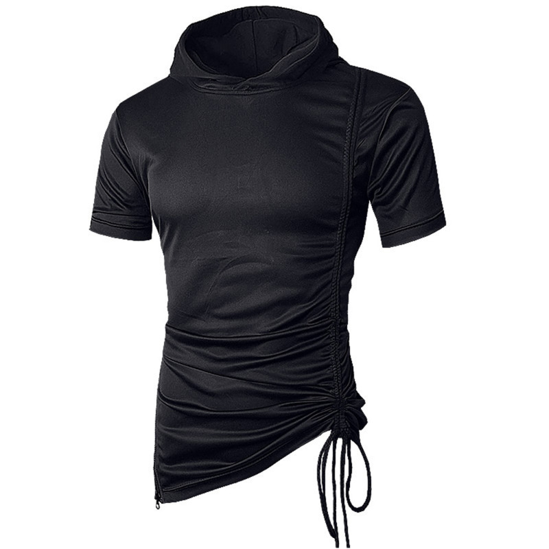 Summer fashion Men's Hooded Personalized Tether Solid T-Shirt Short Sleeve mens clothing  brand Tshirts men slim fit 4colour