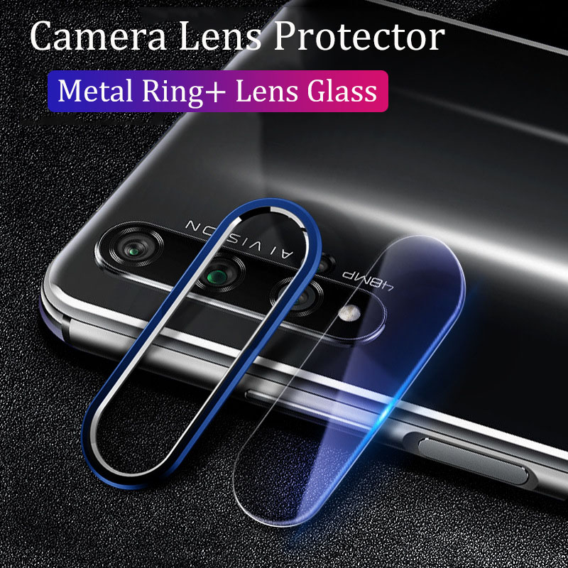 Camera Protector On For Huawei Honor 20 20i 9X Nova 5 5i Pro 4 Case Metal Camera Lens Protective Ring Cover & Tempered Glass