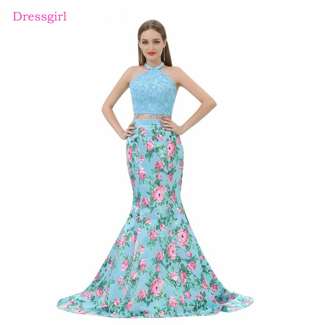 643b4707362 Sky Blue 2019 Prom Dresses Mermaid Halter Appliques Two Pieces Backless  Long Women Prom Gown Evening Dresses Robe De Soiree