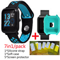 7in1 for Xiaomi Huami Amazfit bit Bip Strap Silicone Band wristband amazfit bit soft silicone case cover+Screen Protector film