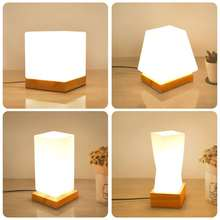 Artpad Japanese-style Tatami Nordic Loft Small Desk Lamp Wood Led Decoration Bedside Table Square Dimmable Night Light