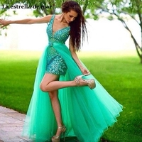 Vestidos formatura2019 new sexy V neck tulle crystal turquoise high and low can be disassembled 2 prom dress long robe de bal