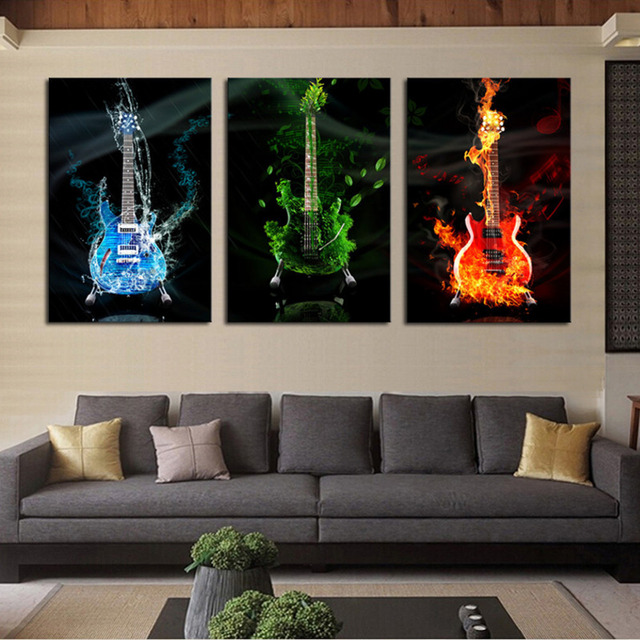 3 Panels Canvas Print Guitar Painting for Living Room Wall Art ...