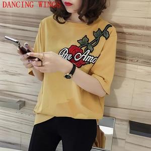 DANCING WINGS Women Short Sleeve Retro Rose Embroidery T Shirt 2019 korean Summer Loose Cotton Bottoming Shirt Ladies Tops