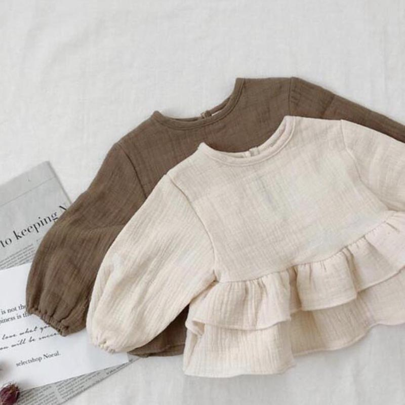 Brand Boys Blouse New 2019 Spring Autumn Japan & korean Style Toddler Baby Girl Boys Blouse Ruffles Sweet Children Linen Clothes