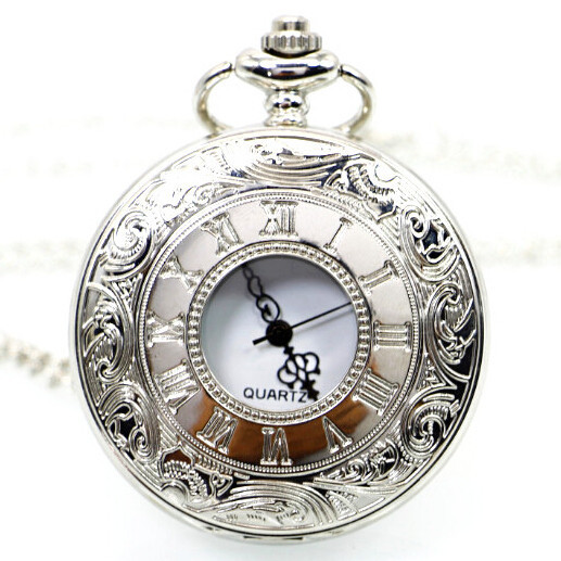Fashion Jewelry Modern Women Men Smooth Quartz Pocket Watch Necklace Pendant GIft White/Bronze