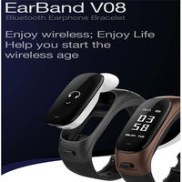V08 Wireless Bluetooth Earphone Smart Band 2 in 1 Earband Smart Bracelet Wristband Heart Rate Blood Pressure Monitor