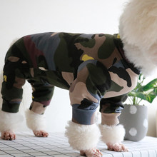 Spring Thin Pet Dog Jumpsuit Puppy Camouflage Printed Clothes Lycra Cotton Fabric For Small Dogs Pajamas Sweatshirt Chihuahua(China)
