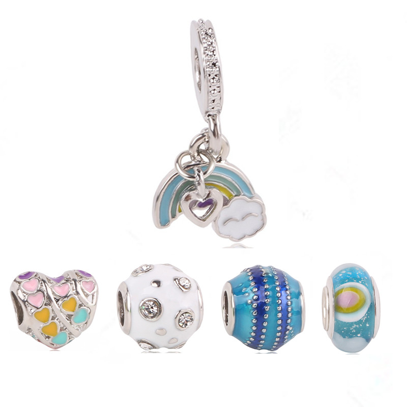 Fashion Spring Collection DIY Fits Original Pandora Charms Bracelet Jewelry Star/Love/Heart Charm Bead With