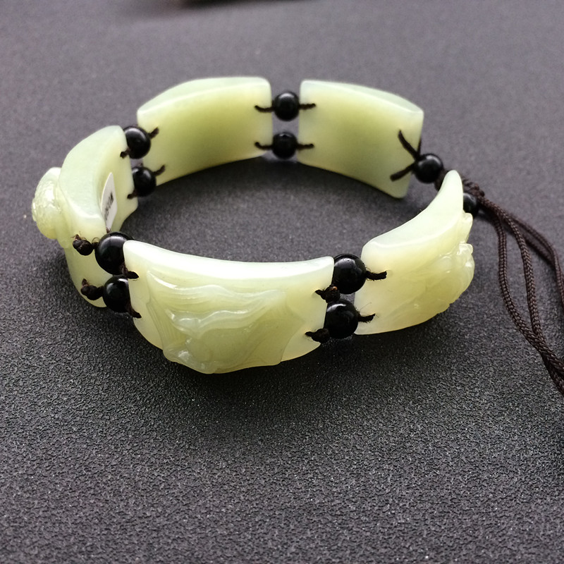 Natural xinjiang hotan qingbai yu hand-carved animal bracelet for men and women/