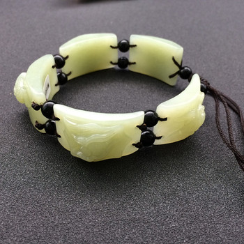 Natural xinjiang hotan qingbai yu hand-carved animal bracelet for men and women/