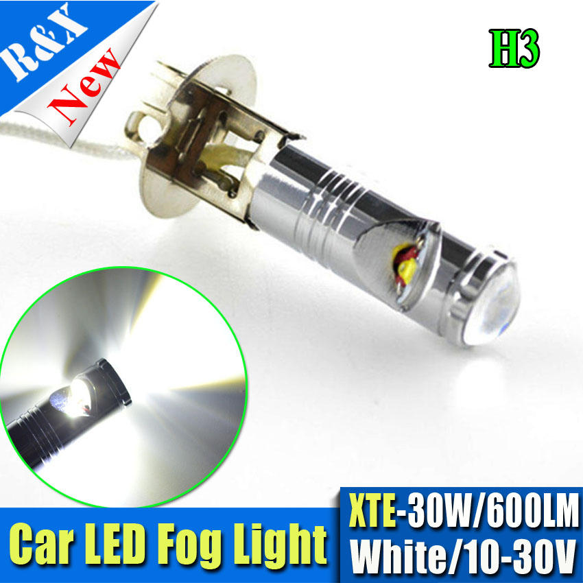 Hot Sale 2pcs 600LM 30W H1 H3 Chip XT-E LED DRL Fog Lights LED Fog Lights Bulb AC 10-30V Auto Car DRL Daytime Running Lamp White