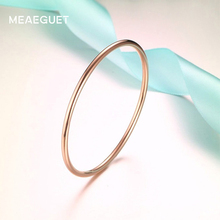 Meaeguet Simple Stainless Steel Bangle Fashion Jewelry Women Trendy Rose Gold Color Round Bracelets Bangles