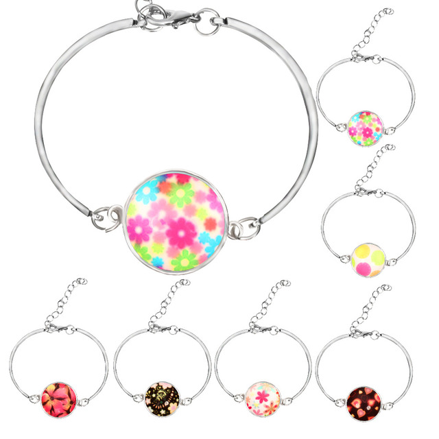 62d20ebdce2 10pcs Mixed Mini Flower Buddhism Zen Picture Charm Cuff Glass Cabochon Bracelet  Bangle Silver Plated Bracelet Gift