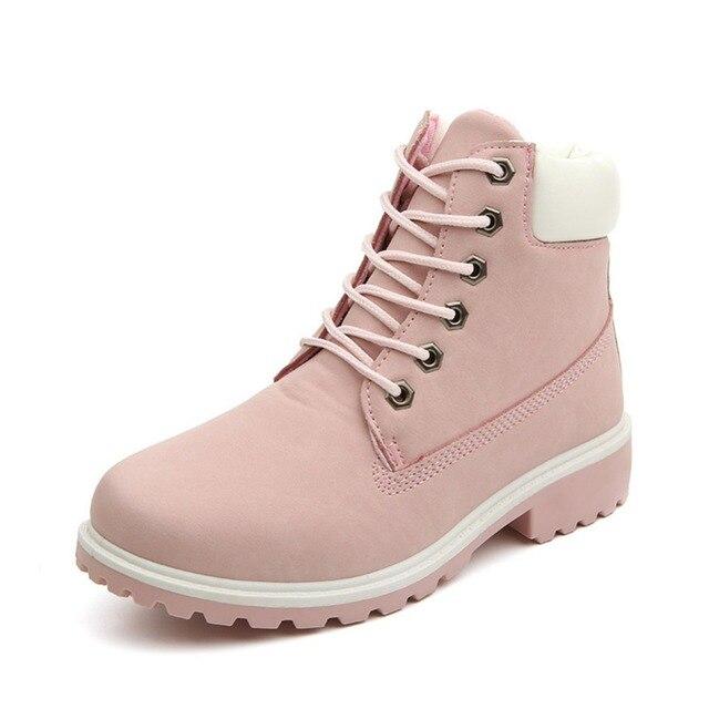 Marca Mulheres Botas Martin Botas de Neve de Inverno Sapatos Botas De Madeira, Botas Mujer sapatos de Alta-top Ankle Boots Para As Mulheres Scarpe Donna