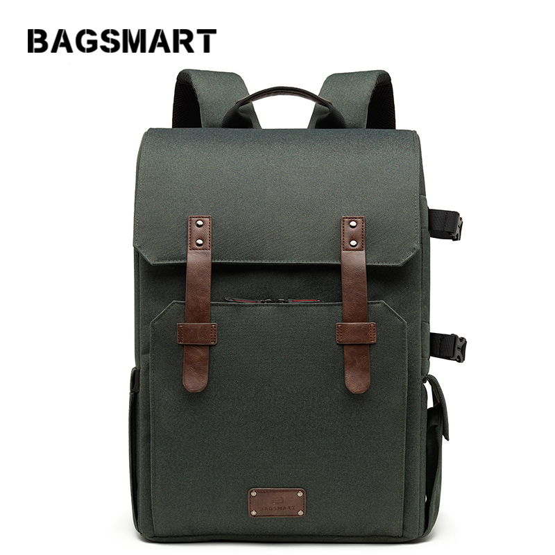 BAGSMART 15.6'' Laptop School Bag Waterproof Camera Backpack For SLR/DSLR Cameras With Rain Cover