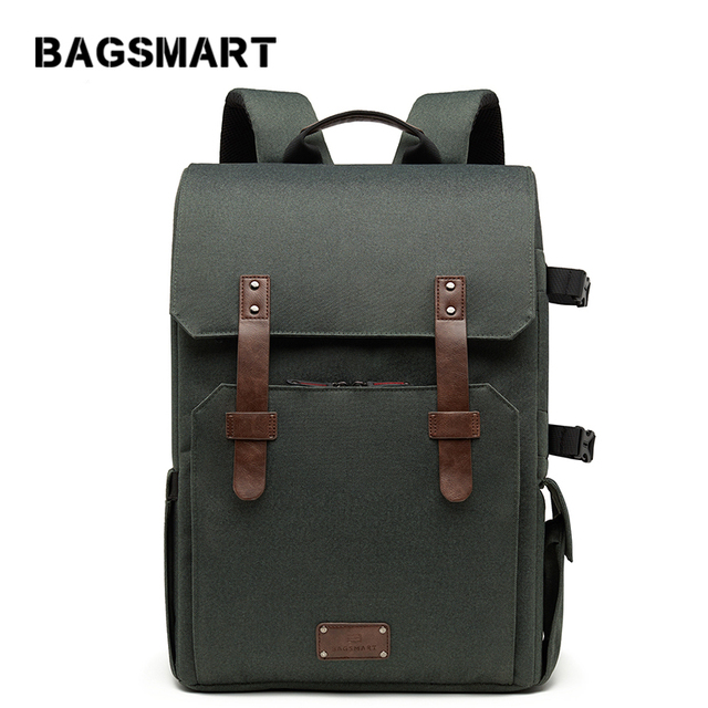 BAGSMART 15.6'' Laptop School Bag Waterproof Camera Backpack for SLR/DSLR Cameras With Rain Cover