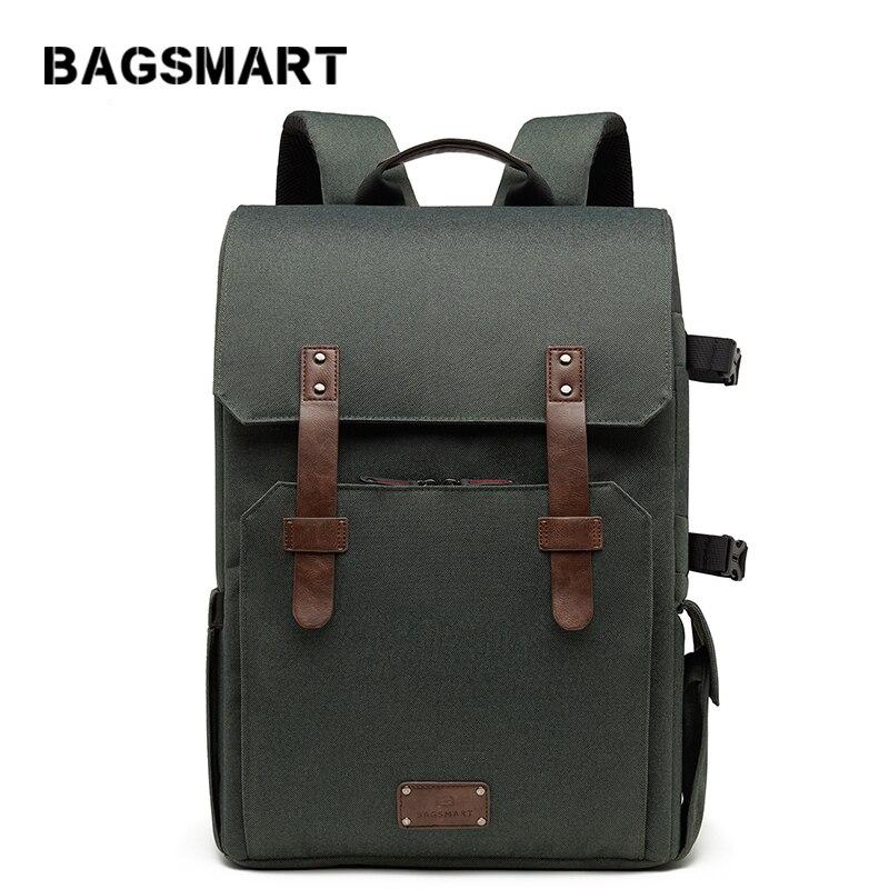 BAGSMART 15.6 ''sac d'école pour ordinateur portable sac à dos étanche pour appareil photo reflex/DSLR avec couverture de pluie