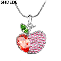 Red Apple Necklaces Pendants Crystal From Swarovski Jewelry For Women Designer Brand Jewellery 3150