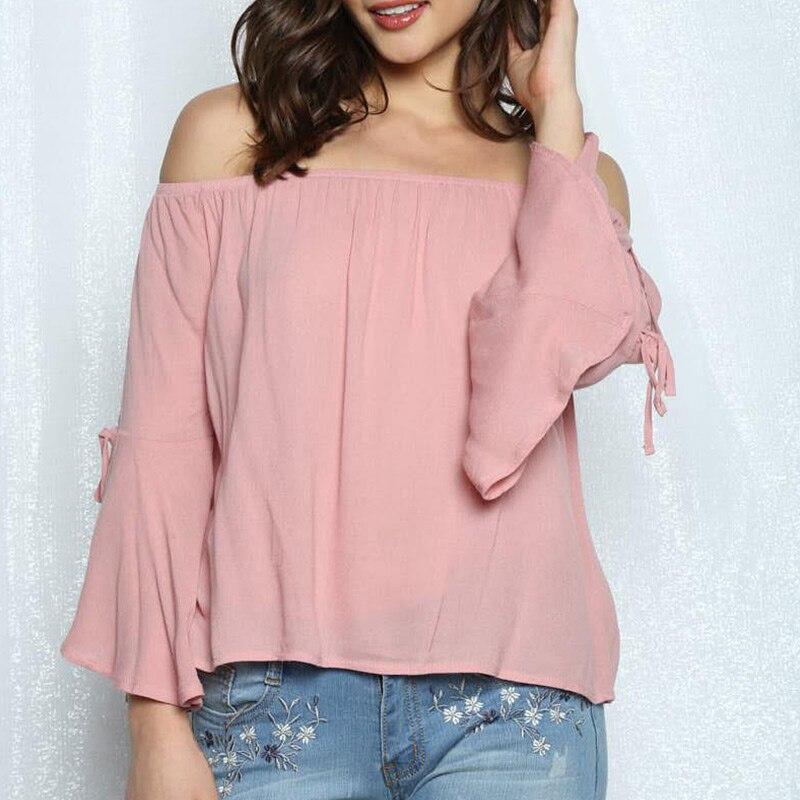 Off-shoulder Sexy T-shirt Shirt Ruffle Long Sleeve Women T-shirt Summer Chiffon Shirts JL