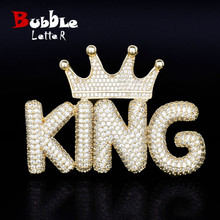 Crown Small Bubble Letters Necklaces & Pendant with 4MM Gold Color Tennis Chain Custom Name Hip Hop Jewelry