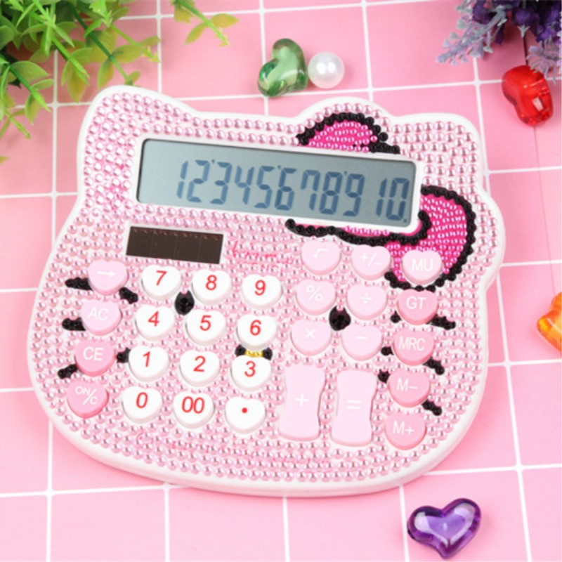 Rhinestone Crystal Diamond Hello Kitty Mini Calculator Fashion Solar Power Calculadora Student Office Stationery Suppliers