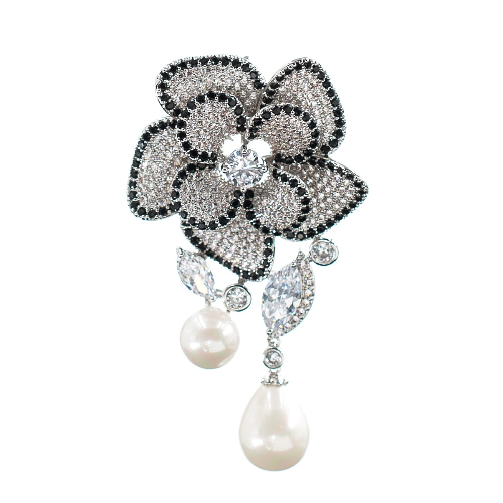 Crystal Cubic Zirconia Pearl Flower Dangle Brooch Broach Pin Pendant Women Jewelry Accessories XR02740