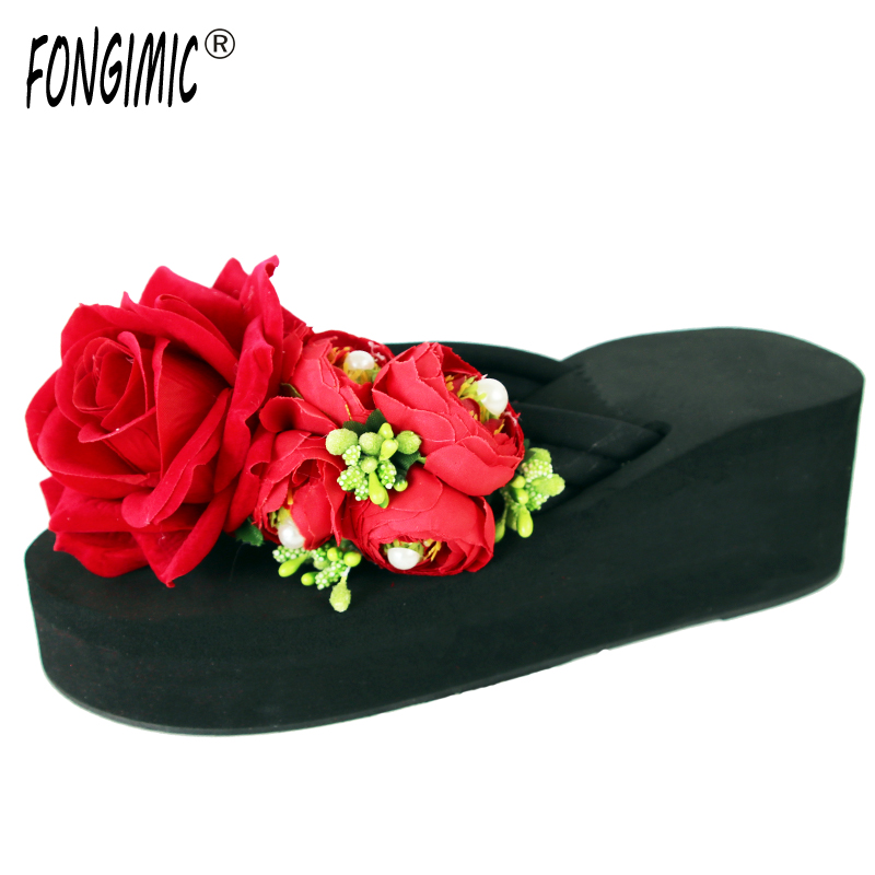 Specia Design Beautiful Looking Three Colors Wedges Women Flip Flops Summer Time Casual Wear Female Shoes