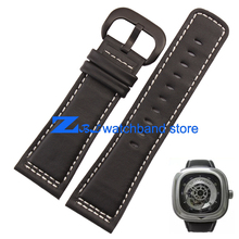 Ремешки мужские кожаный браслет часов группа высокое качество гладкий черный кожаный ремешок браслеты просмотрам 28 мм