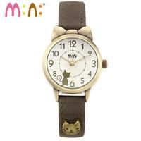 M: N: El Yapımı POLİMER KİL Kore Mini İzle Vintage stil bayanlar kadın saatler Çocuk saat relogio feminino güzel kedi