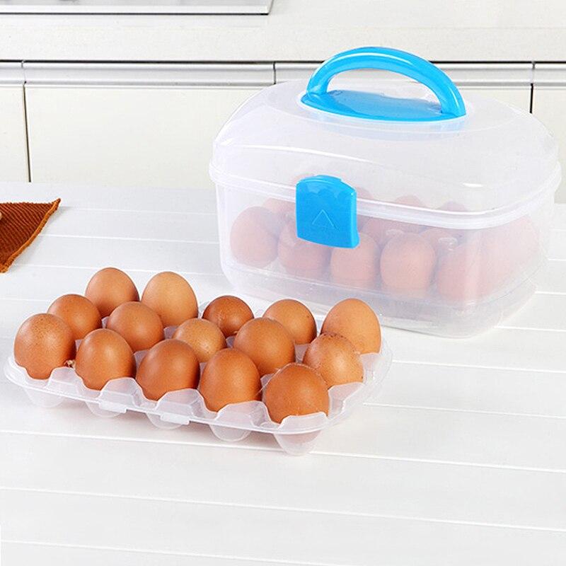 Double 30 Grids Egg Tools Fresh Storage Box Eggs Kitchen Accessories Organizer Decor Maquiagem Box Case