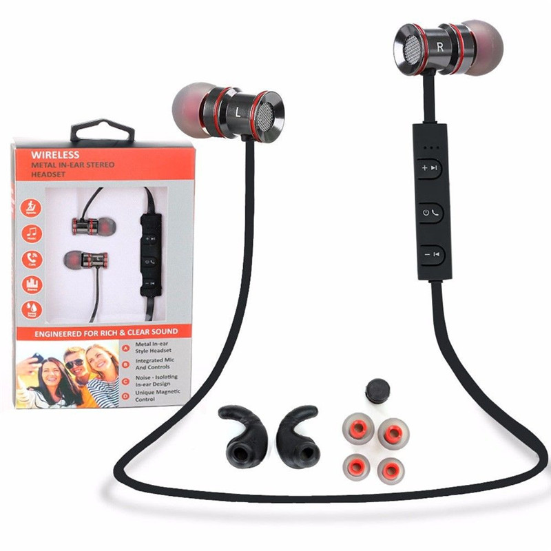 In-Ear Metal Wireless Sports Bluetooth 4.1 Stereo Earbuds Headset Sweat-proof Earphone Gym Running Fitness with Microphone кольца