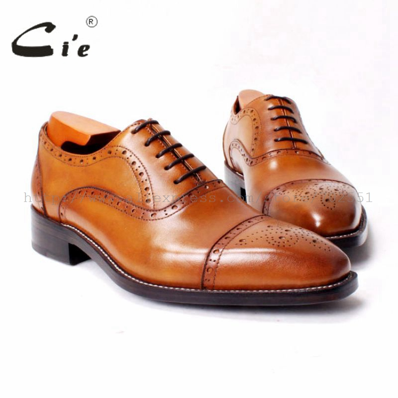 cie Free Shipping bespoke Handmade Men s calf leather outsole Lacing Half brogue Shoe color Brown