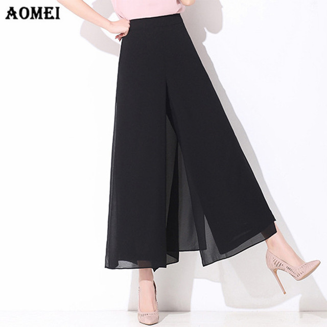 05c68b5c4f9c9 Women Black Wide Leg Loose Skirt Pants Culottes Chiffon Trousers Lady  Officewear Plus Size 4XL 3XL Summer Beachwear Casual Jupes