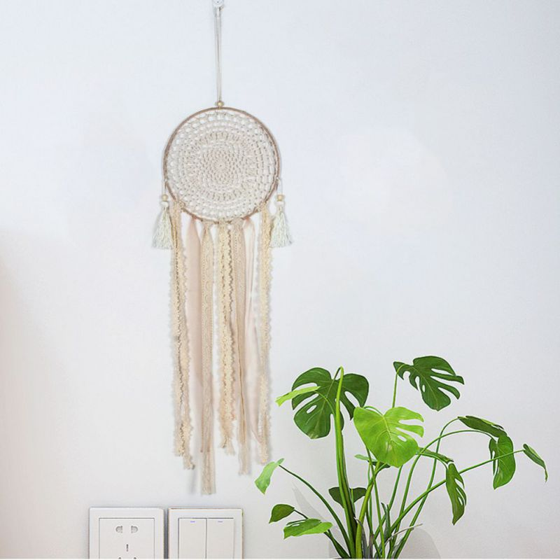 Handmade Lace Dream Catcher Car Ornaments Wall-mounted Dreamcatcher Home Decoration Pendant Gift Windchimes Black White Feather