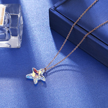 Colorful Crystal Starfish Necklace For Women 2019 New Top Quality Stainless Steel Simple Short Necklaces new lemon starfish costly necklace